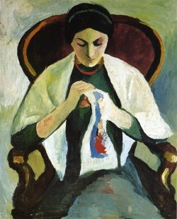 August Macke - Woman Embroidering in an Armchair Portrait of the Artist_s Wife